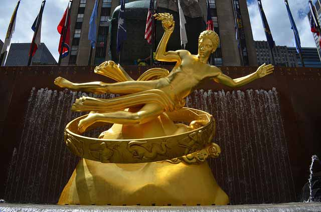 Goldener Prometheus Top of The Rock Rockefeller